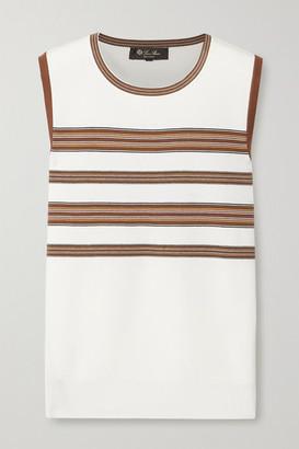 Loro Piana Striped Silk And Cotton-blend Tank - Off-white