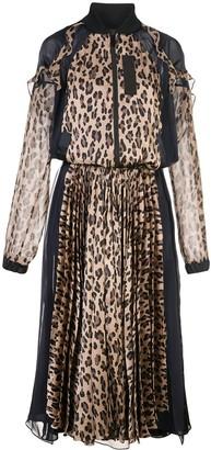 Sacai leopard print bomber maxi dress