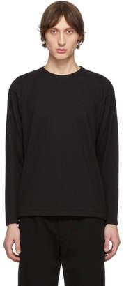 Issey Miyake Black Tucked Stripe Long Sleeve T-Shirt