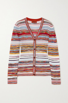 Missoni Striped Crochet-knit Cotton-blend Cardigan - White