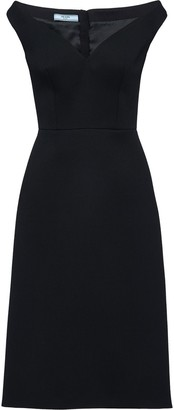 Prada Off-Shoulder Bateau Neck Dress