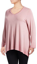 Style And Co. Plus Sharkbite Dip-Dye Knit Top