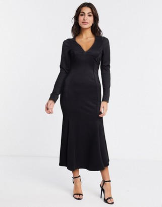 ASOS DESIGN midi bodycon dress with fishtail and v neck in black