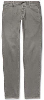 Incotex Light-Grey Slim-Fit Textured Cotton-Blend Trousers