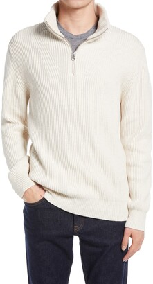 French Connection Ribbed Cotton Blend Half-Zip Sweater