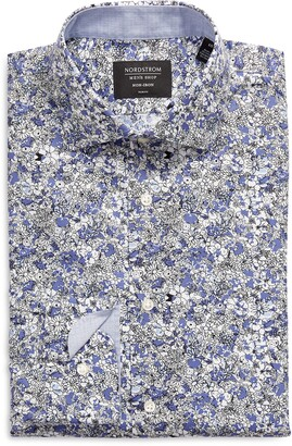 Nordstrom Trim Fit Floral Non-Iron Dress Shirt