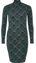 River Island Womens Green sparkly turtleneck mini dress
