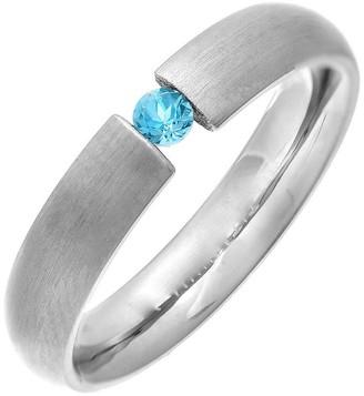 Theia Titanium Court Blue Topaz Tension Matt 4.5 mm Ring - Size R