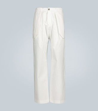 Wales Bonner Wide-leg stretch-cotton pants