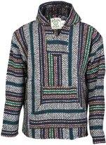 Earth Ragz Baja Joe - Premium Rainbow Stripe Woven Baja Hoodie Jerga Mens