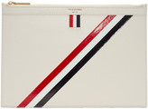 Thom Browne Off-White Small Diagonal Stripe Tablet Holder