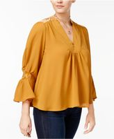 XOXO Juniors' Velvet-Trim Peasant Blouse