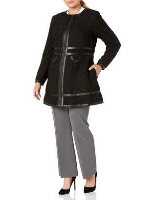 City Chic Women's Apparel Women's Plus Size Boucle Fitted Coat with PU Trim Detail