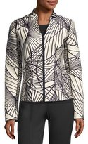 Lafayette 148 New York Linette Zip-Front Spiral-Print Jacquard Jacket, Multi