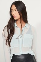 Dynamite Sheer Button Up Blouse With Pockets