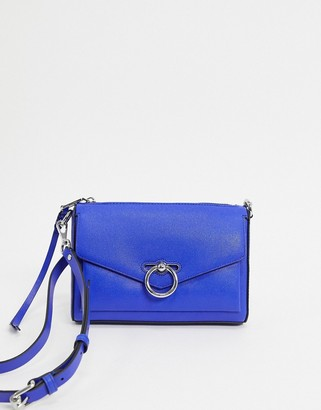 Rebecca Minkoff jean leather shoulder bag with ring closure in bright blue