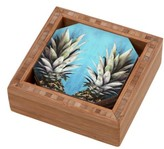DENY Designs How About Them Pineapples Coaster Set