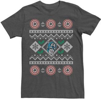 Marvel Men's Captain America Ugly Sweater Design Graphic Tee