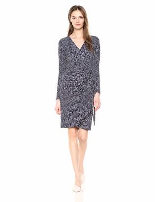 Lark & Ro Amazon Brand Women's Classic Long Sleeve V-Neck Compact Matte Jersey Wrap Dress