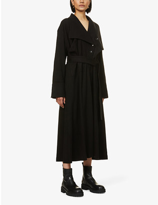 AKIRA NAKA Filippa single-breasted woven midi dress