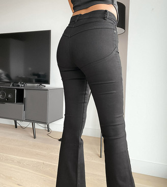 ASOS DESIGN Petite hourglass 'lift and contour' flare jeans in clean black