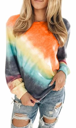 Yuson Girl Women Tie Dye Sweatshirt Tops Casual Oversized Long Sleeve Pullover Round Neck Leisure Sweatshirt Loose Crewneck Blouse Shirt Jumper Orange