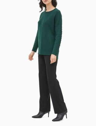 Calvin Klein Braided Sleeve Crewneck Sweater