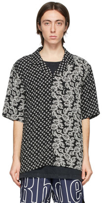 Rhude Black and White Bandana Panel Hawaiian Short Sleeve Shirt