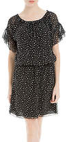 Max Studio Spot Print Cold Shoulder Dress, Black/Cream