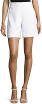 St. John Clair Lace-Trim Knit Shorts, Bianco