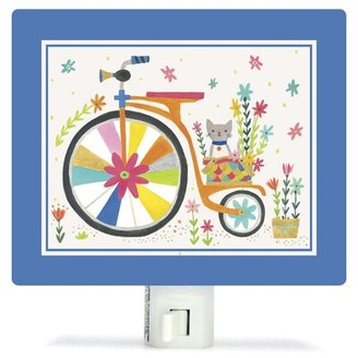 Oopsy Daisy Fine Art For Kids Kitty Bicycle by Irene Chan Canvas Night Light