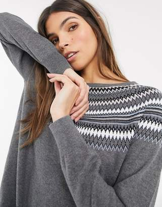Esprit fairisle round neck jumper in grey
