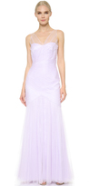 Monique Lhuillier Bridesmaids V Neck Tulle Dress