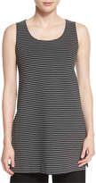 Lafayette 148 New York Sleeveless Scoop-Neck Striped Tunic, Black Multi