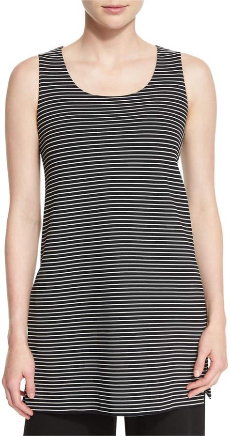 Lafayette 148 New York Sleeveless Scoop-Neck Striped Tunic, Black Multi