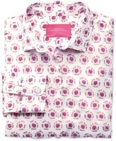 Charles Tyrwhitt Women's Semi-Fitted Pink and White Abstract Floral Print Cotton Shirt Size 2