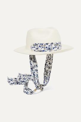 Sensi Studio Kids - Floral-print Poplin-trimmed Toquilla Straw Panama Hat - White