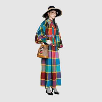 Gucci Check cotton dress with patch