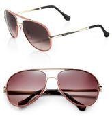 Balenciaga Leather-TriMMed 60MM Aviator Sunglasses