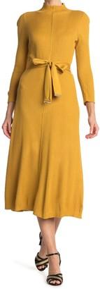 Calvin Klein Belted Mock Neck Midi Dress