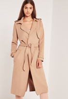 Missguided Raw Seam Faux Suede Trench Coat Nude