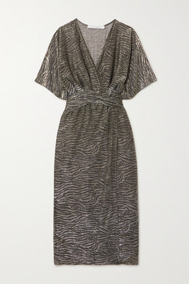 IRO Volsun Wrap-effect Metallic Zebra-jacquard Midi Dress - Dark gray