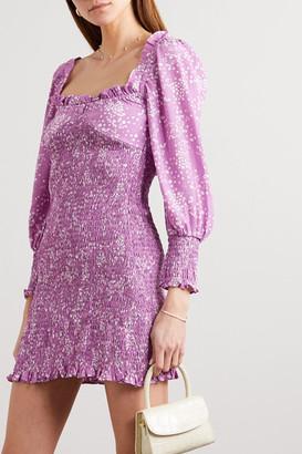 Faithfull The Brand Net Sustain Gombardy Shirred Floral-print Crepe Mini Dress - Lavender