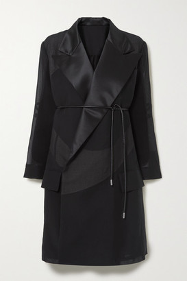 Sacai Belted Satin-trimmed Cotton-blend Poplin And Pleated Chiffon Coat - Black