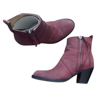 Acne Studios Pistol Burgundy Leather Ankle boots