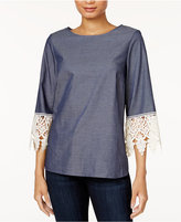 Kensie High-Low Crochet-Trim Top