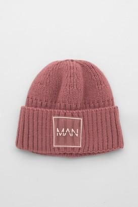 boohoo Mens Pink MAN Dash Micro Beanie, Pink