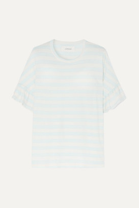 The Great The Ruffle Striped Cotton-jersey T-shirt - Blue
