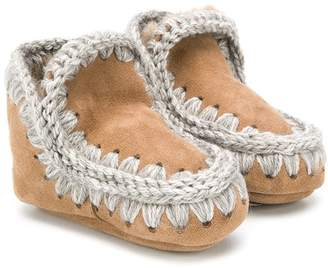 Mou Kids knitted trim boots