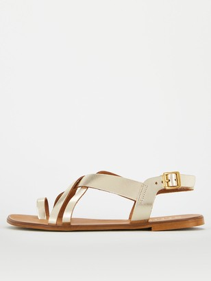 Office Serious Wide Fit Flat Sandal - Gold